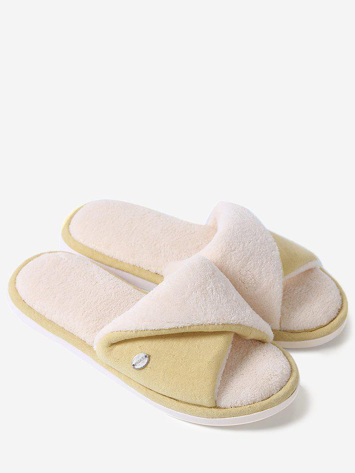Open Toe Faux Fur House Slippers - YELLOW SIZE(40-41)