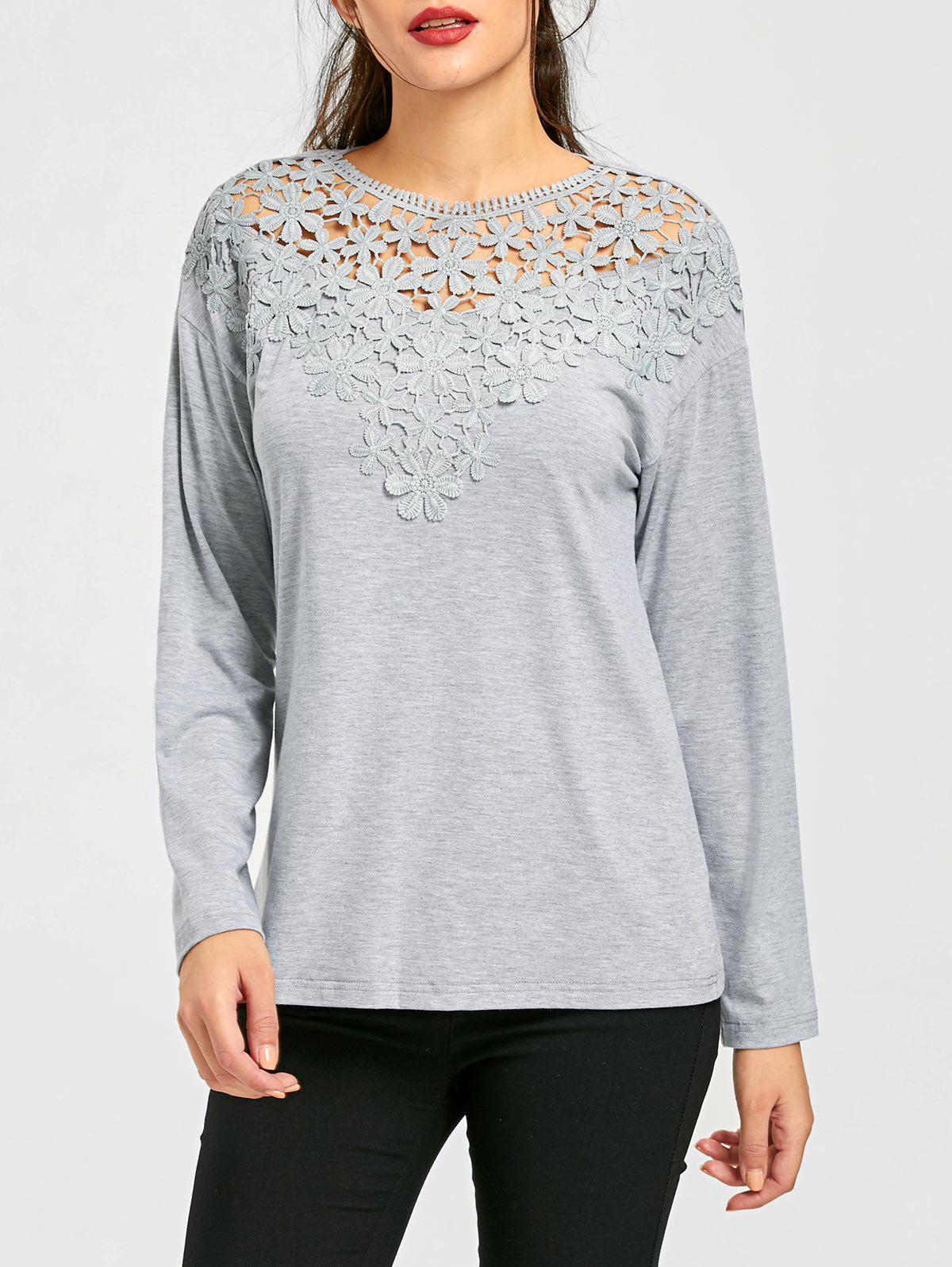 Lace Trim Cutwork Marled Top - GRAY L