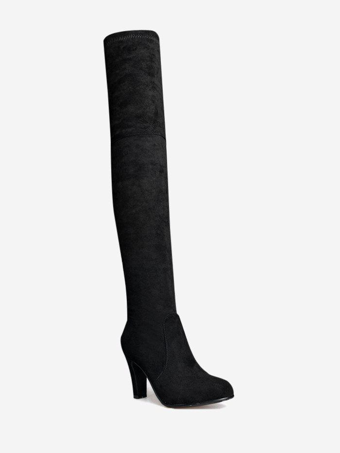 Mid Heel Tie Back Thigh High Boots - Noir 36