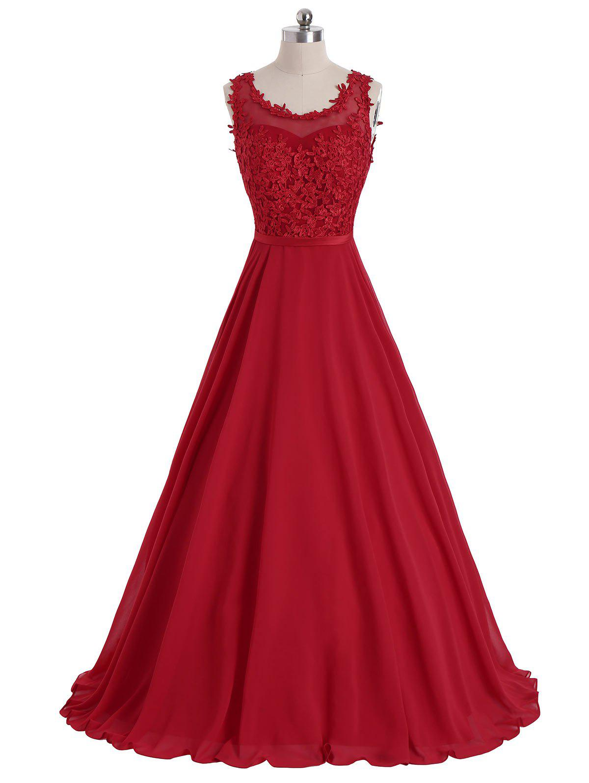 Floral Sleeveless Maxi Formal Evening Dress - RED 2XL