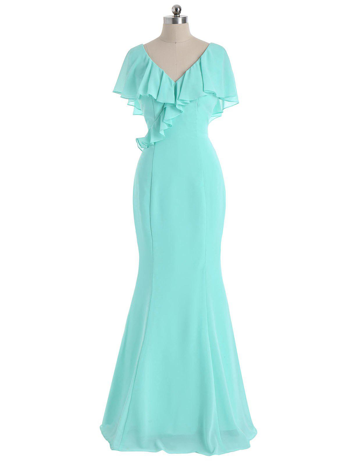 V Neck Flounce Formal Evening Dress - MINT L