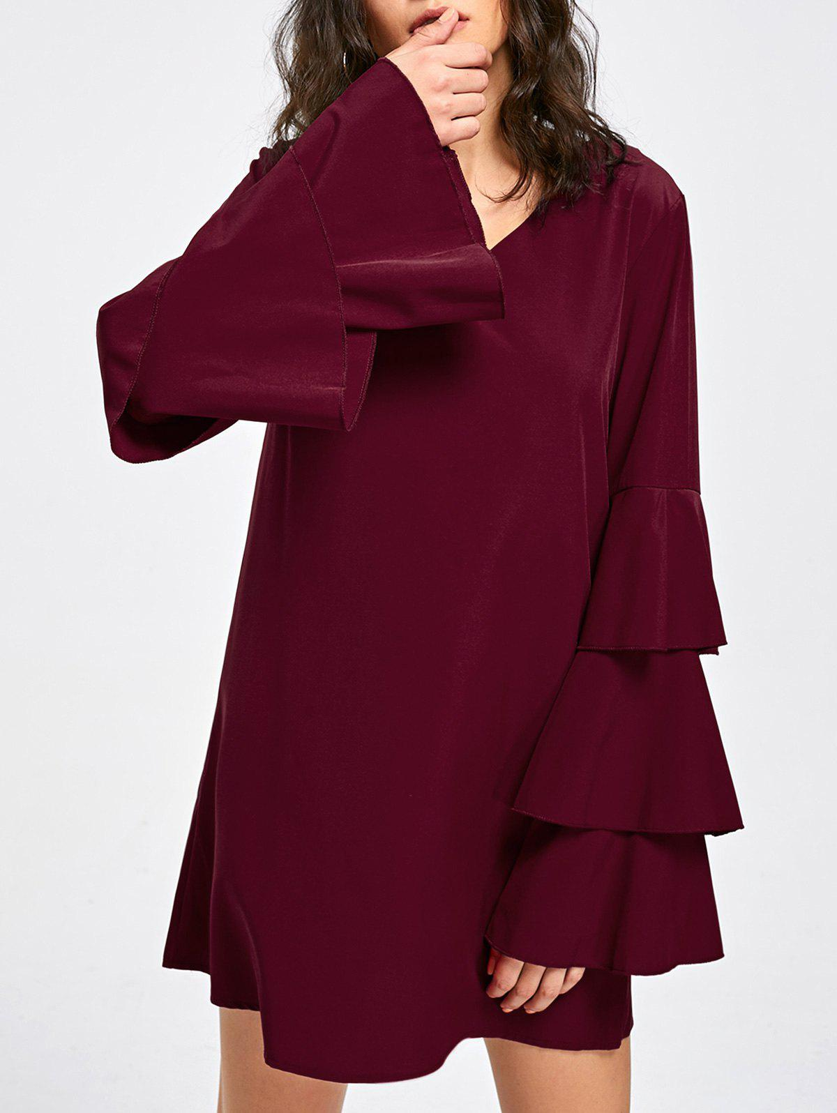 V Neck Layered Flare Sleeve Dress layered v neck bell sleeve dress