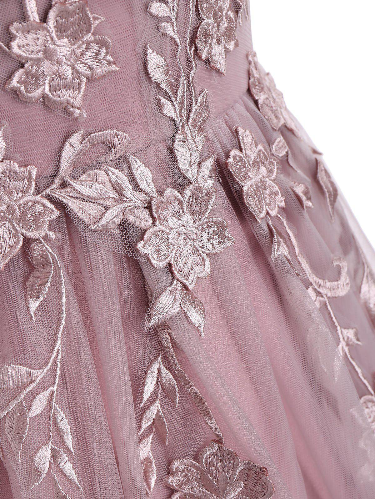 Floral Embroidered Mesh Yoke Sleeveless Evening Dress - PINK L