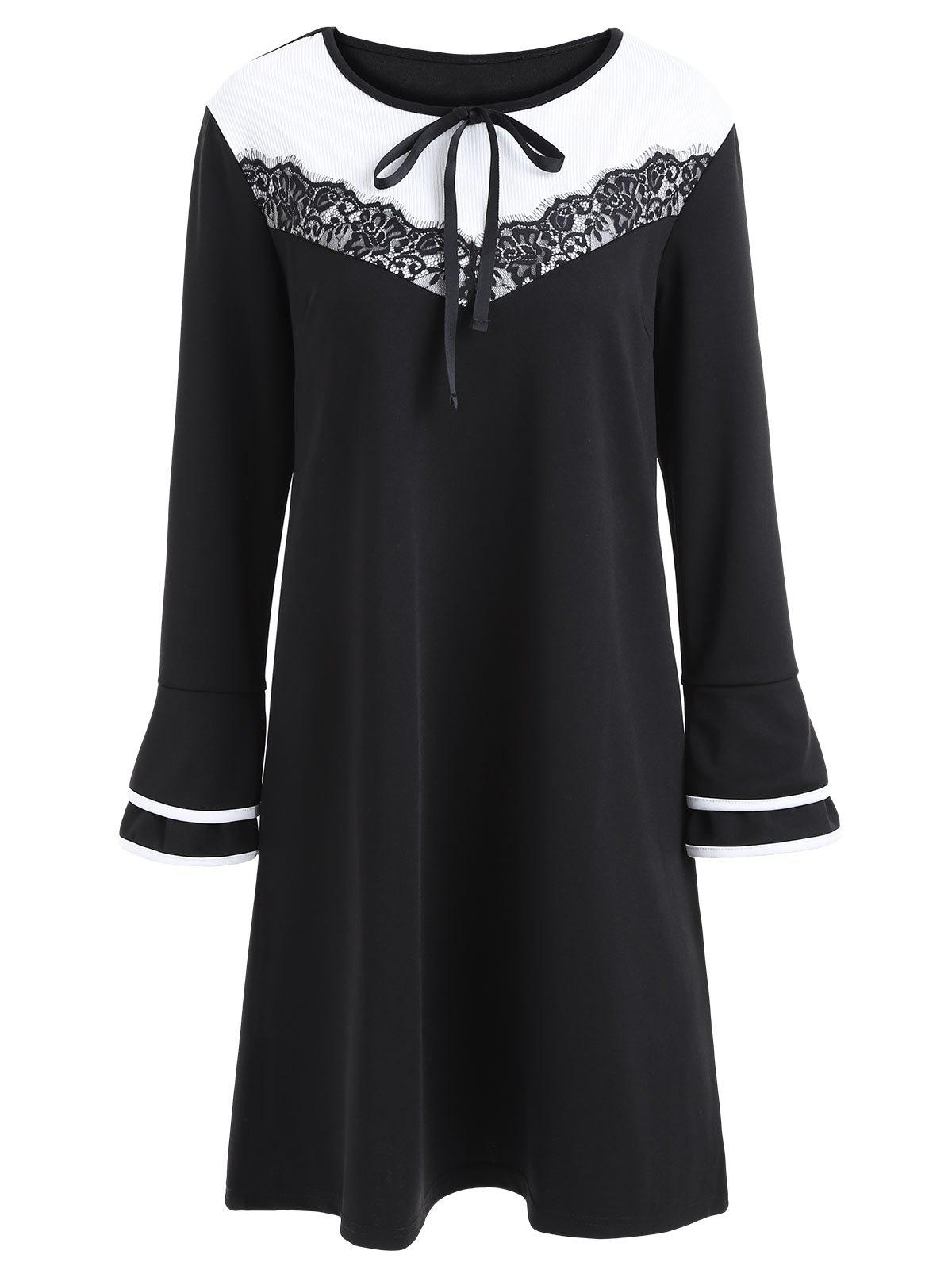 Plus Size Lace Insert Bell Sleeve Dress - BLACK 3XL