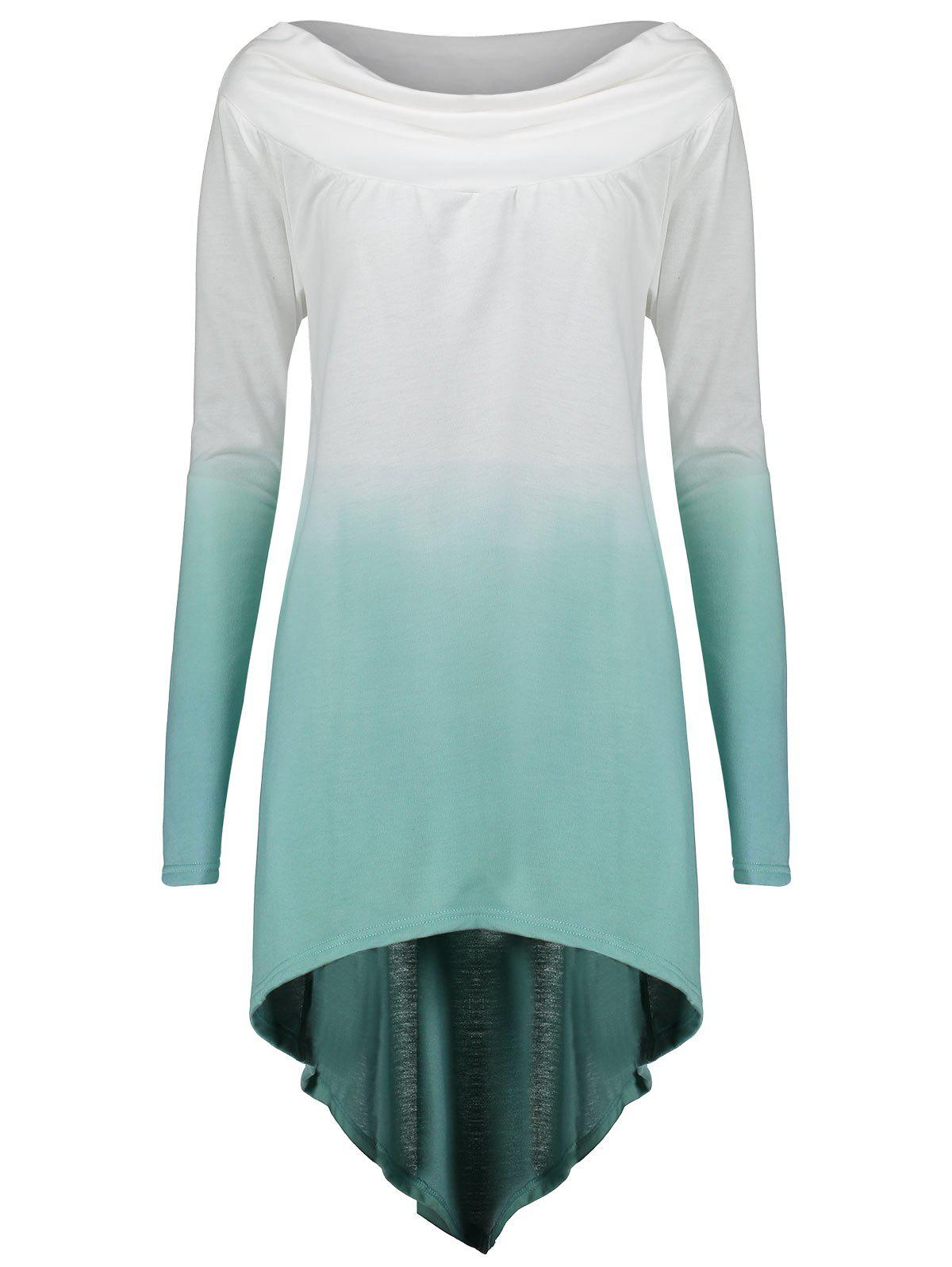 Ombre Print Plus Size High Low Sweatshirt - LAKE GREEN XL