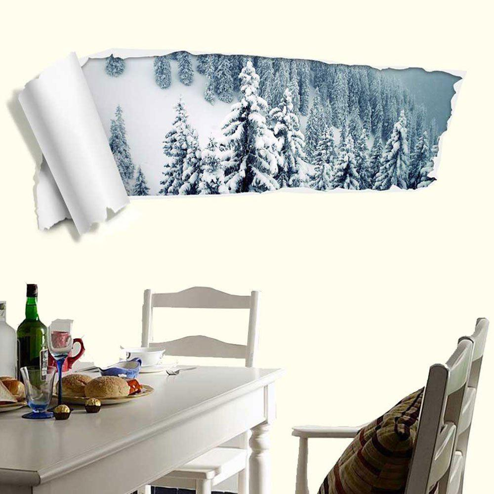 Autocollant mural amovible Snow Forest 3D - multicolorcolore