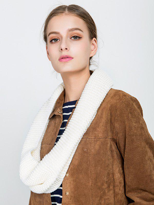 Woolen Yarn Plain Knit Infinite Scarf - BEIGE