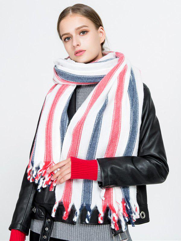 Vertical Striped Pattern Tassel Long Scarf - RED