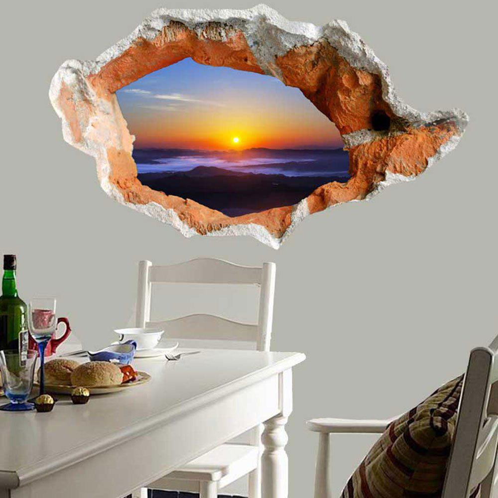 Waterproof Floor Decal Sunset 3D Hole Wall Sticker - COLORMIX