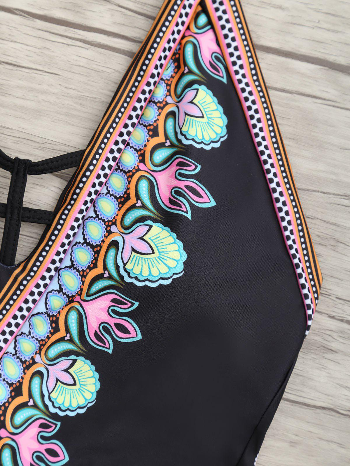 Low Back Halter Printed Swimsuit - BLACK XL