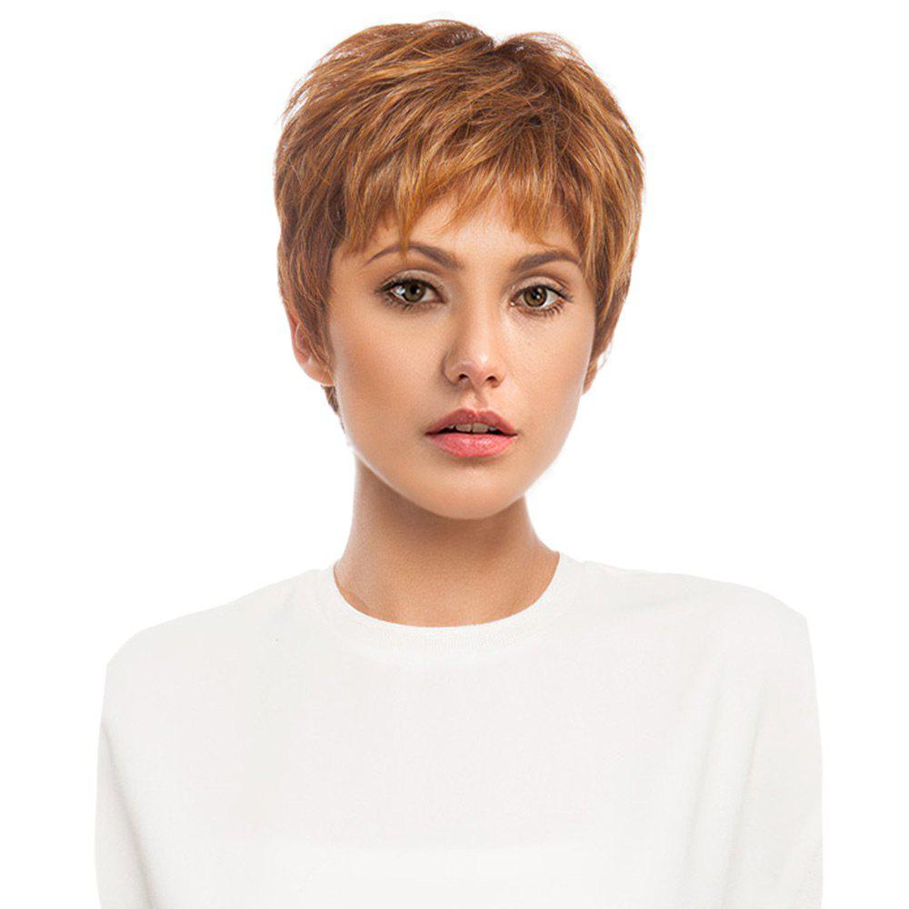 Short Inclined Bang Layered Fluffy Straight Human Hair Wig short pixie cut capless straight inclined bang synthetic wig