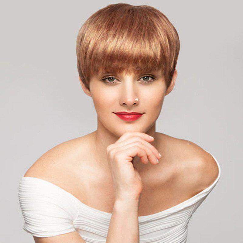 Short Pixie Full Bang Straight Human Hair Wig - LIGHT BROWN