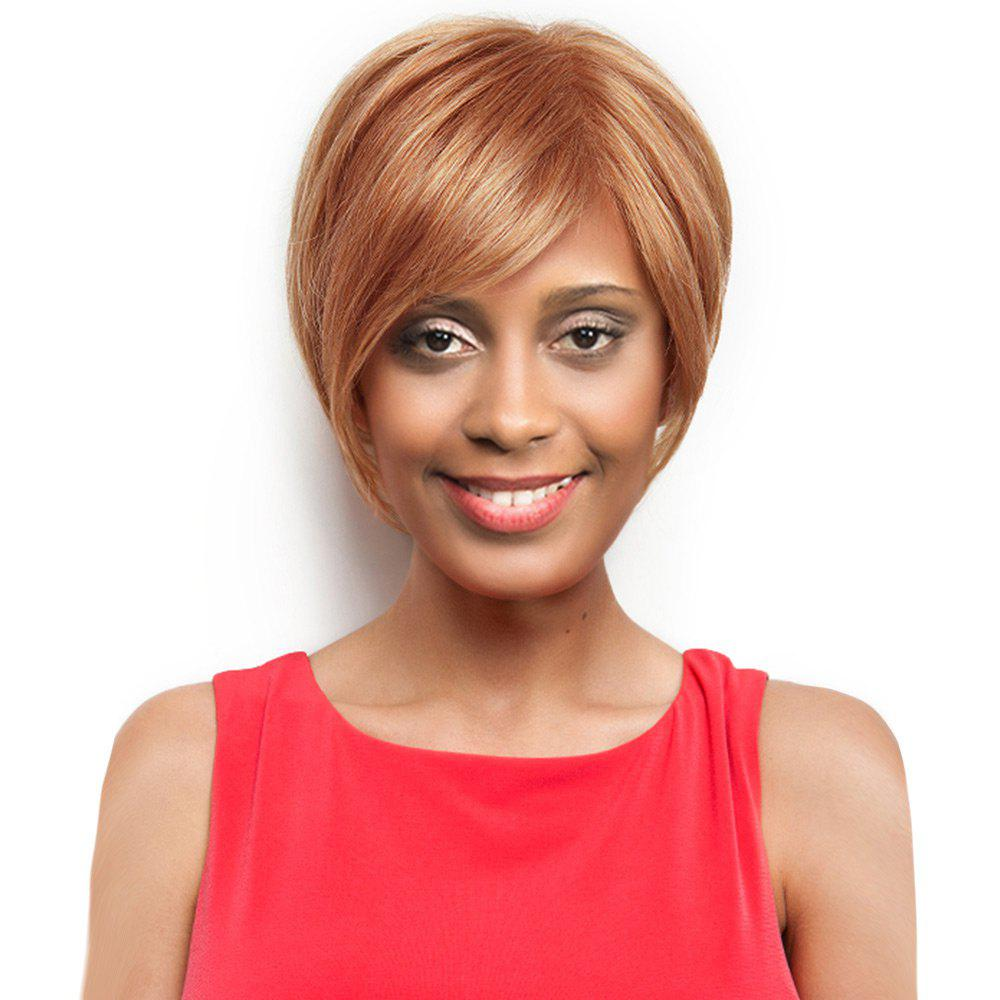 Inclined Bang Capless Short Straight Human Hair Wig - LIGHT BROWN