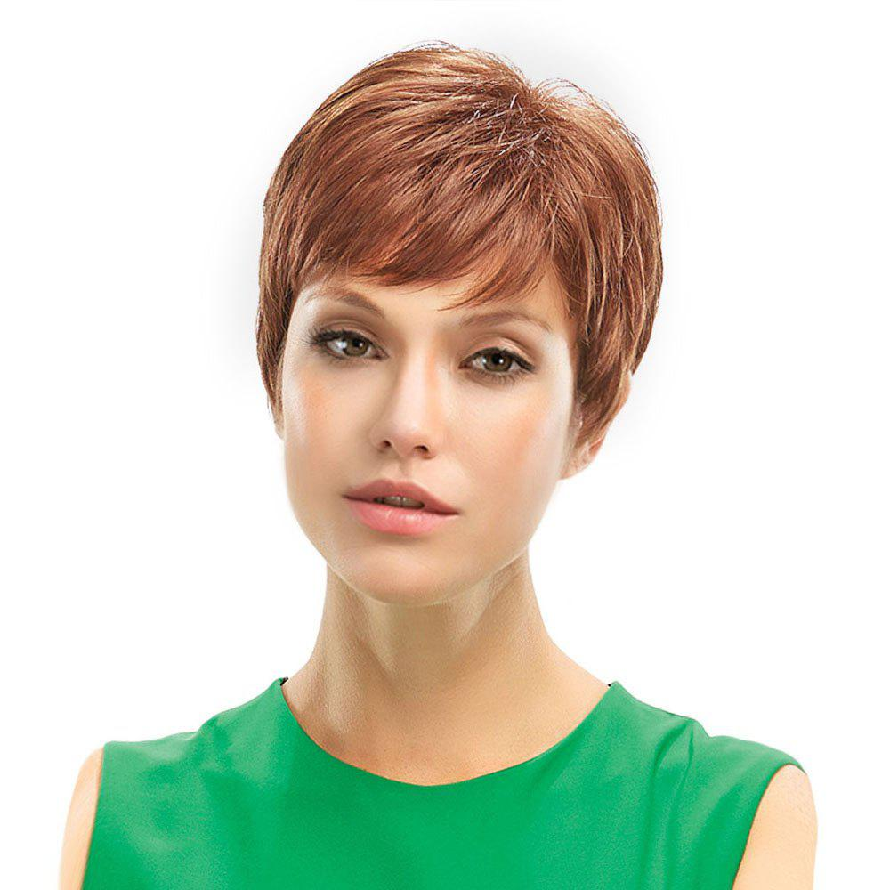 Inclined Bang Fluffy Short Pixie Natural Straight Human Hair Wig - LIGHT BROWN