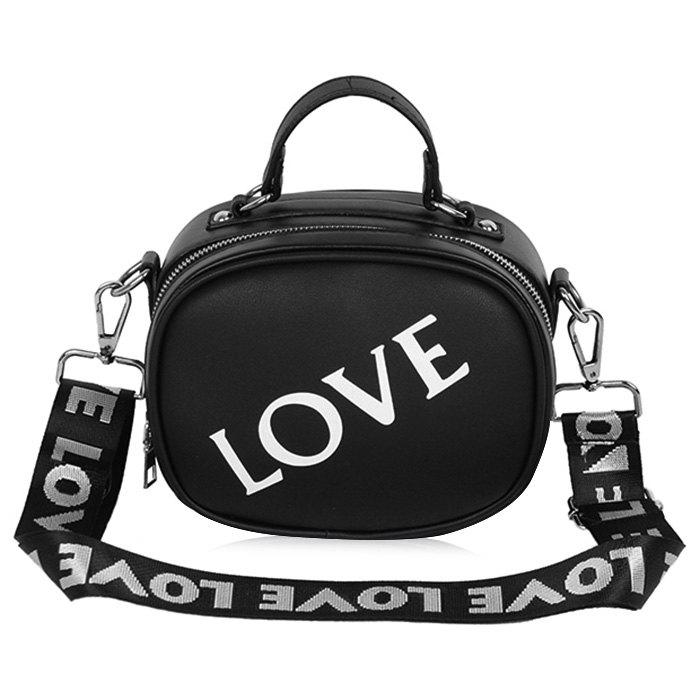 Faux Leather Print Letter Crossbody Bag - BLACK