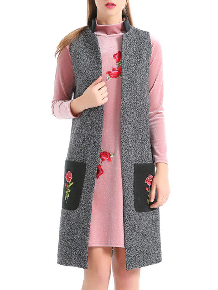 Embroidered Pockets Heathered Longline Waistcoat - GRAY L