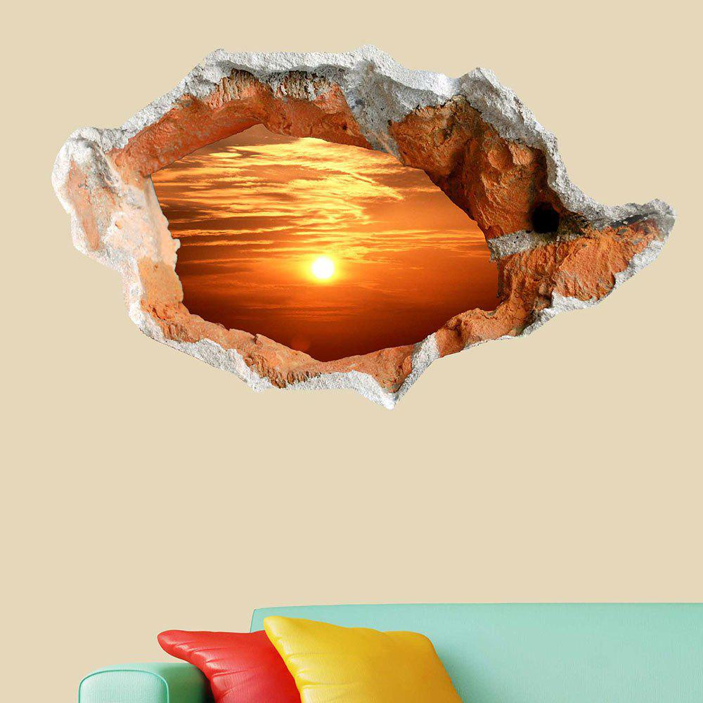 3D Hole Sun Landscape Removable Wall Decor Sticker - ORANGE