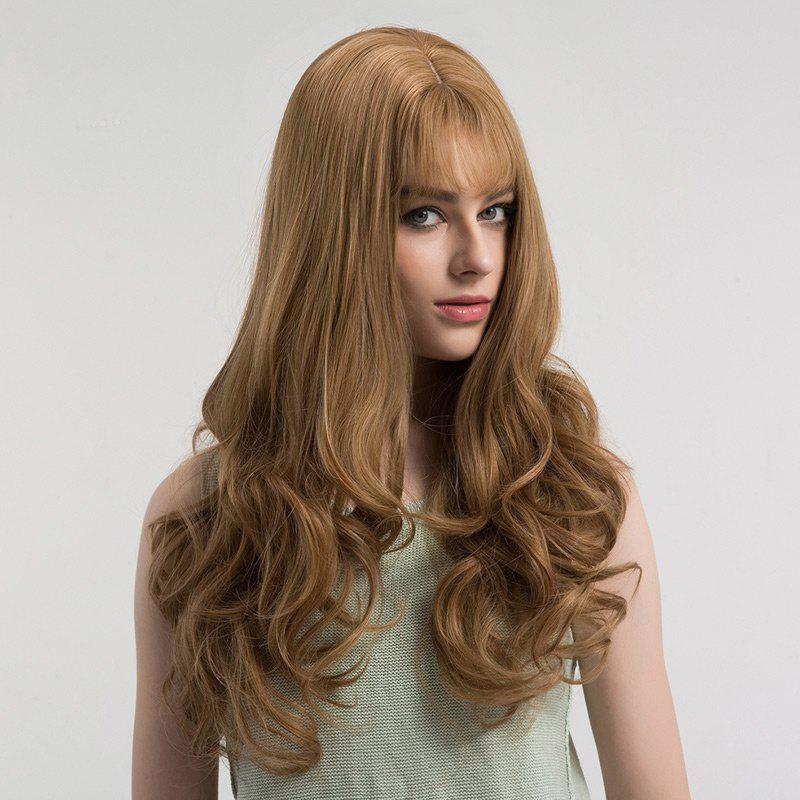 See-through Bang Fluffy Long Curly Synthetic Wig - LINEN PLATINUM
