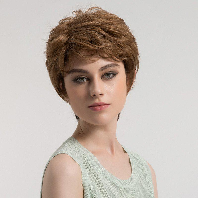 Short Side Bang Fluffy Layered Textured Slightly Curly Synthetic Wig - LIGHT BROWN
