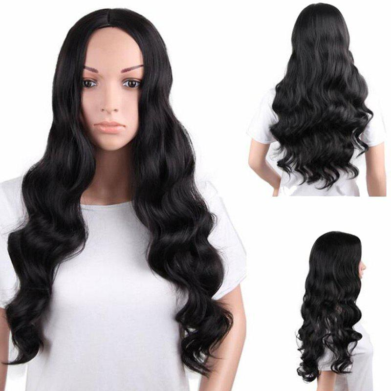 Center Parting Long Fluffy Body Wave Synthetic Wig - BLACK
