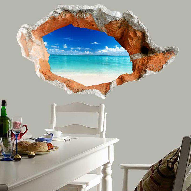3D Hole Seascape Waterproof Wall Art Decal - BLUE