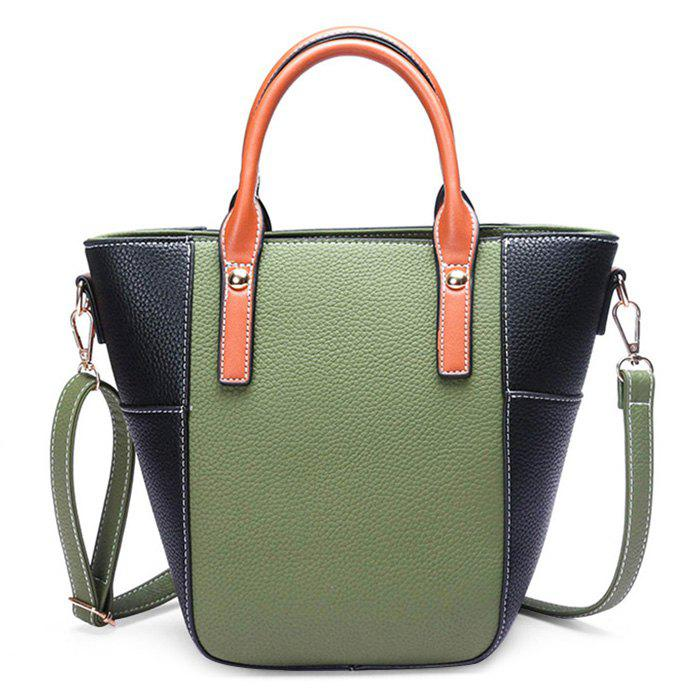 Stitching Contrasting Color Crossbody Bag - GREEN