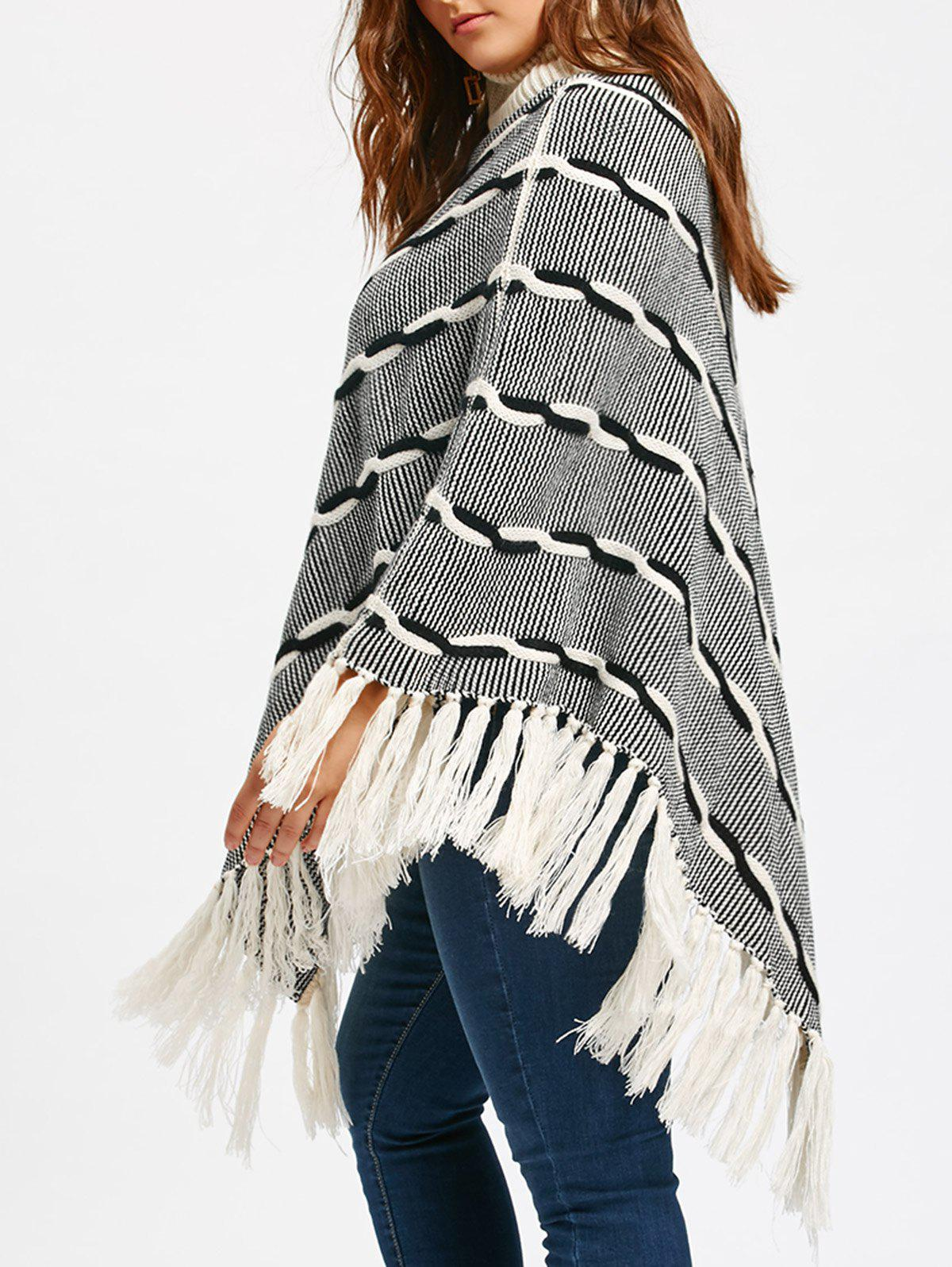 Tassel Plus Size Stripe Turtleneck Poncho Sweater - WHITE / GREY 5XL