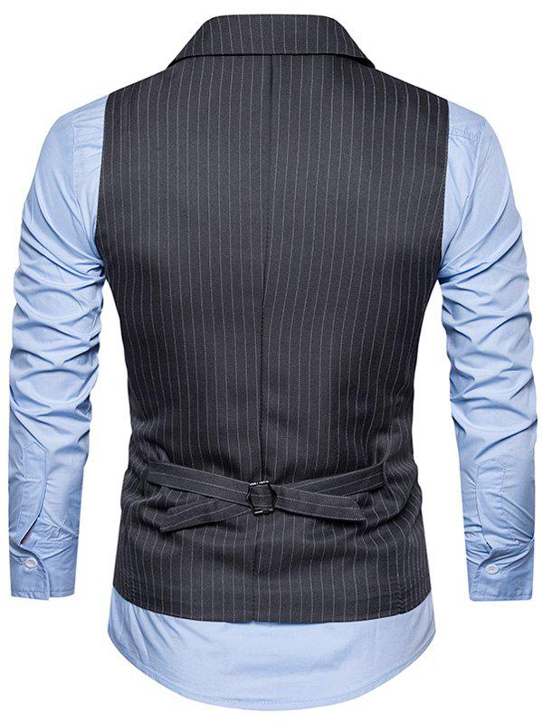 Belt Double Breasted Vertical Stripe Waistcoat - DEEP GRAY L