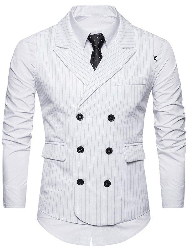 Belt Double Breasted Vertical Stripe Waistcoat - WHITE L