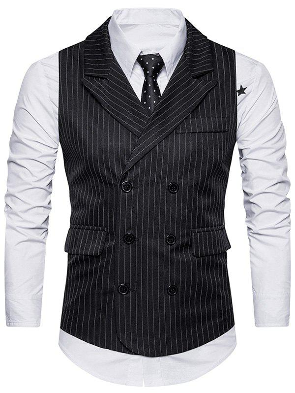 Belt Double Breasted Vertical Stripe Waistcoat - BLACK M
