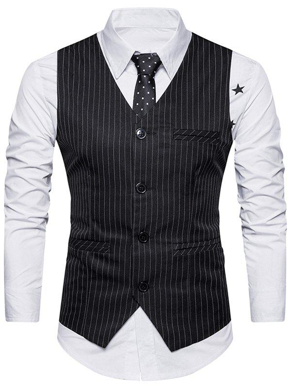 Belt Single Breasted Vertical Stripe Waistcoat - BLACK L