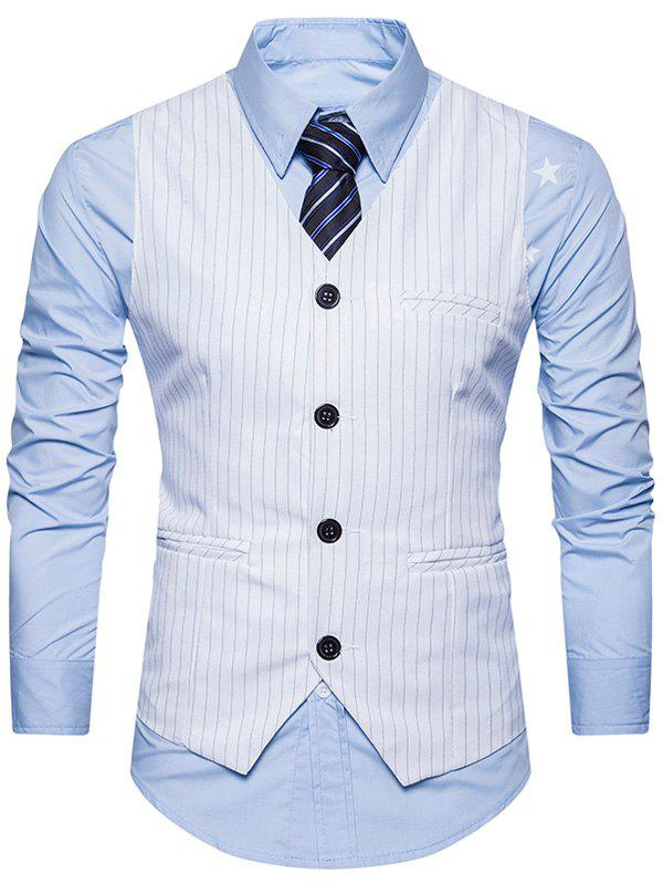 Belt Single Breasted Vertical Stripe Waistcoat - WHITE L