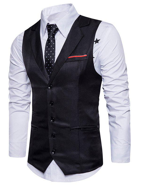 Single Breasted Belt Edging Waistcoat - BLACK L