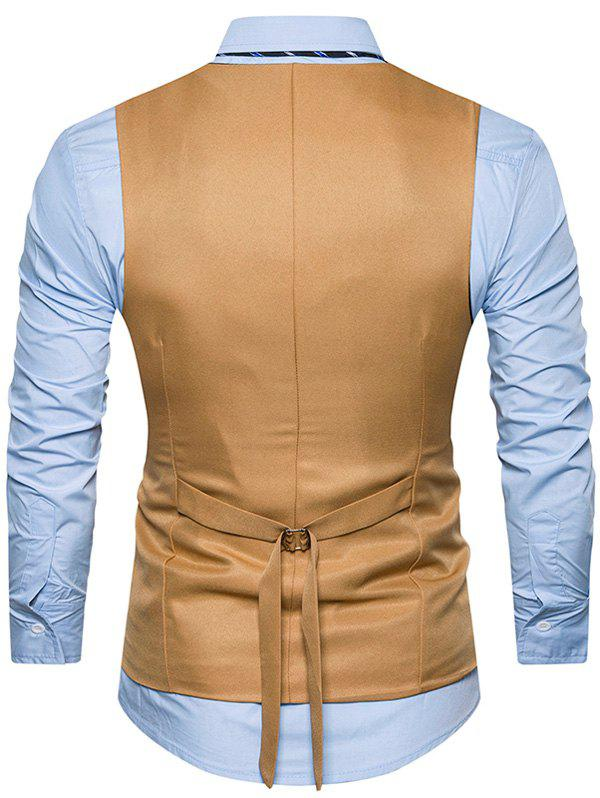 Single Breasted Belt Edging Waistcoat - KHAKI M