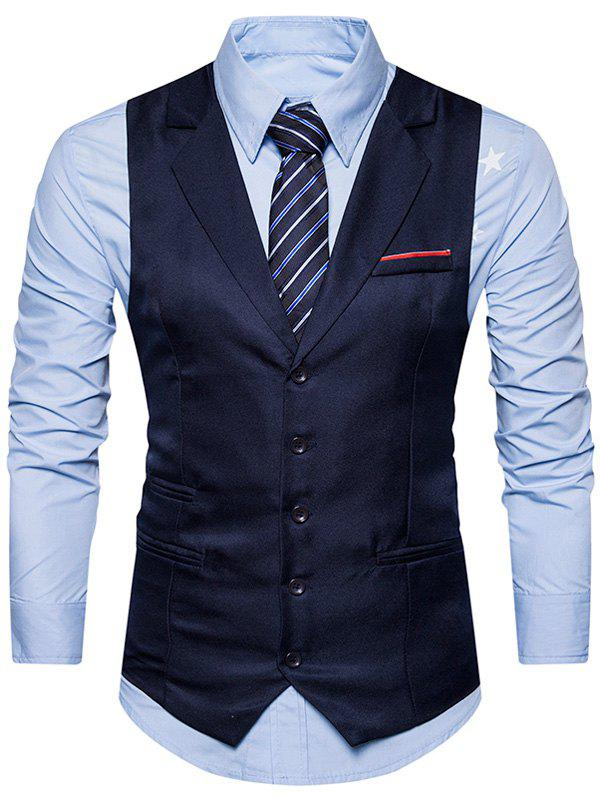 Single Breasted Belt Edging Waistcoat - CADETBLUE S