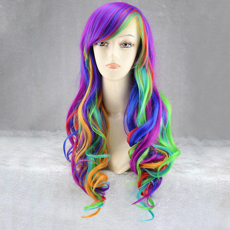 Long Inclined Bang Fluffy Wavy Rainbow Synthetic Cosplay Anime Wig - COLORFUL