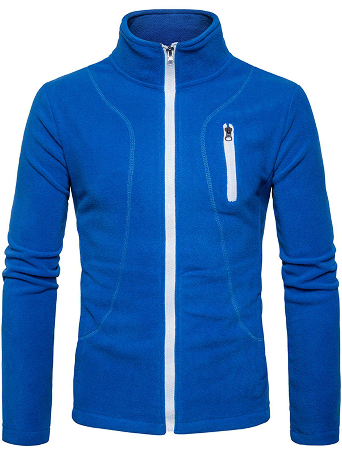 Suture Stand Collar Fleece Zip Up Jacket - BLUE XL