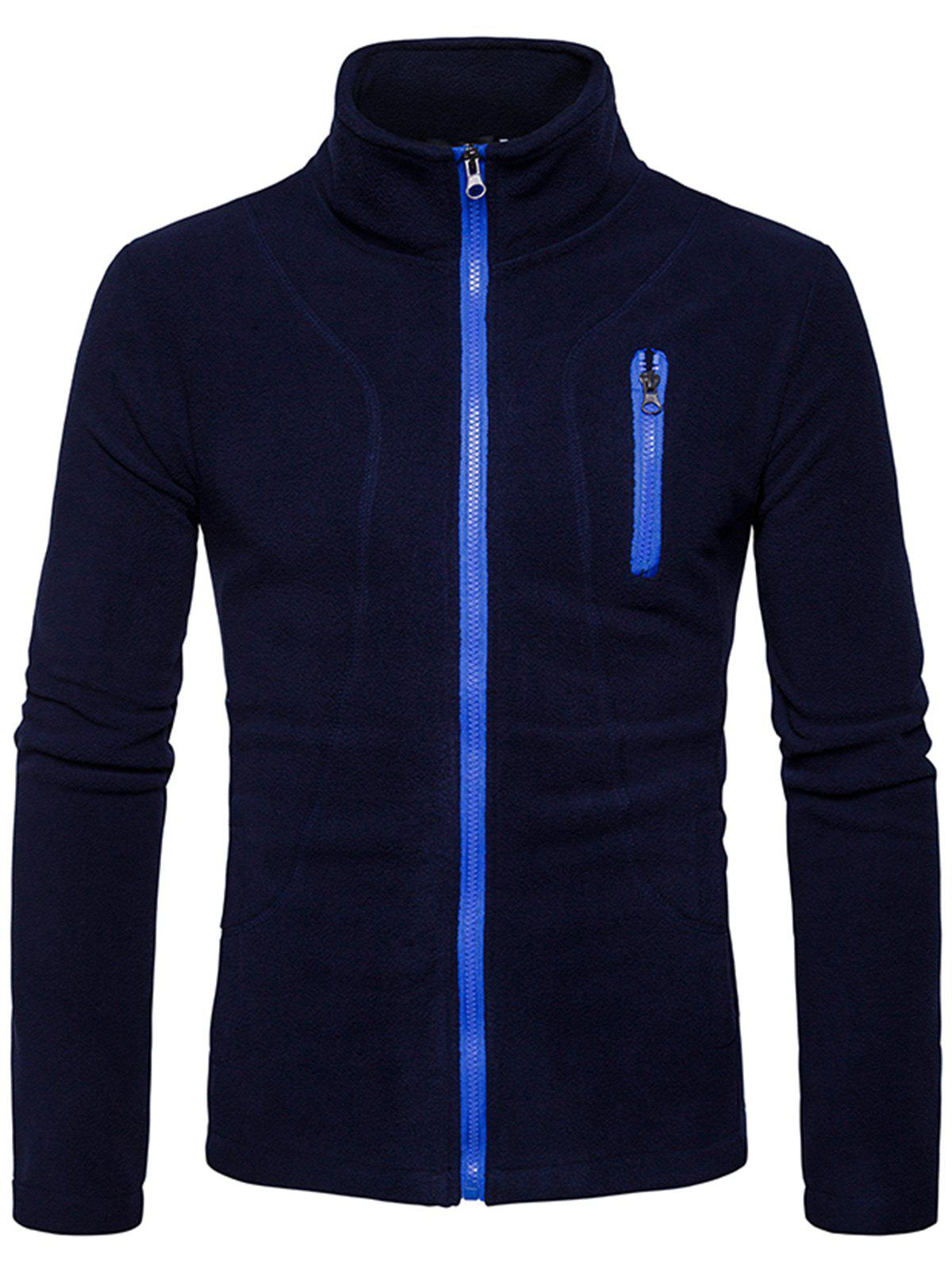 Suture Stand Collar Fleece Zip Up Jacket - CADETBLUE S