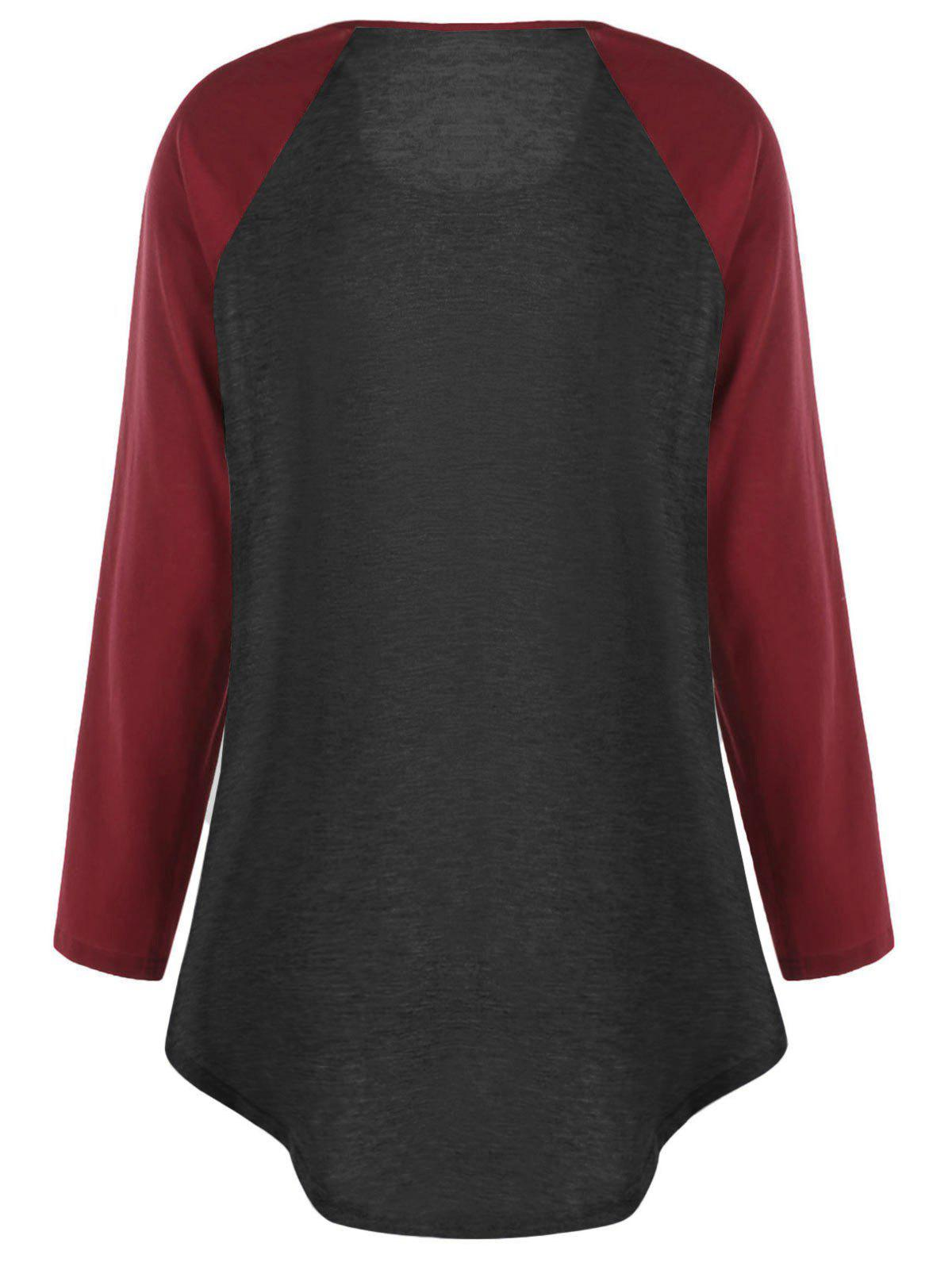 Plus Size Two Tone Raglan Sleeve T-shirt with Buttons - BLACK/RED 3XL