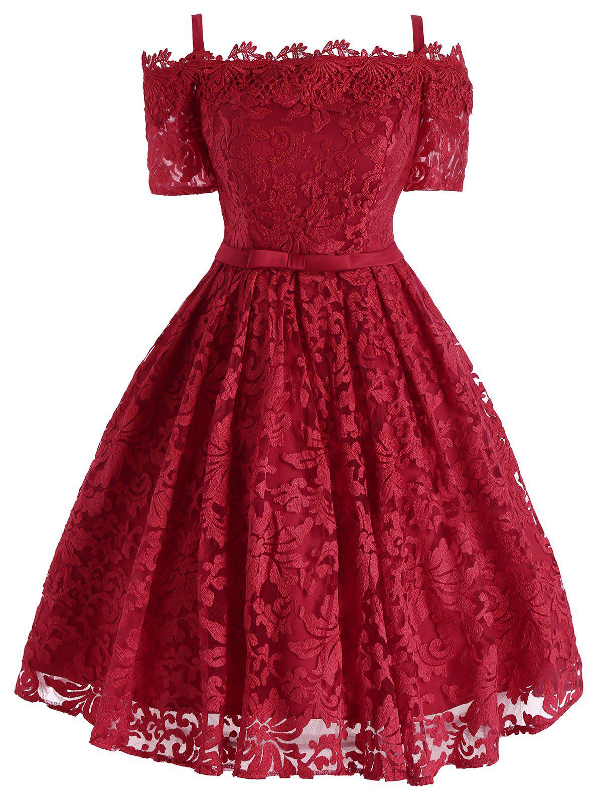 Floral Lace Cold Shoulder Bowknot Formal Dress - RED M