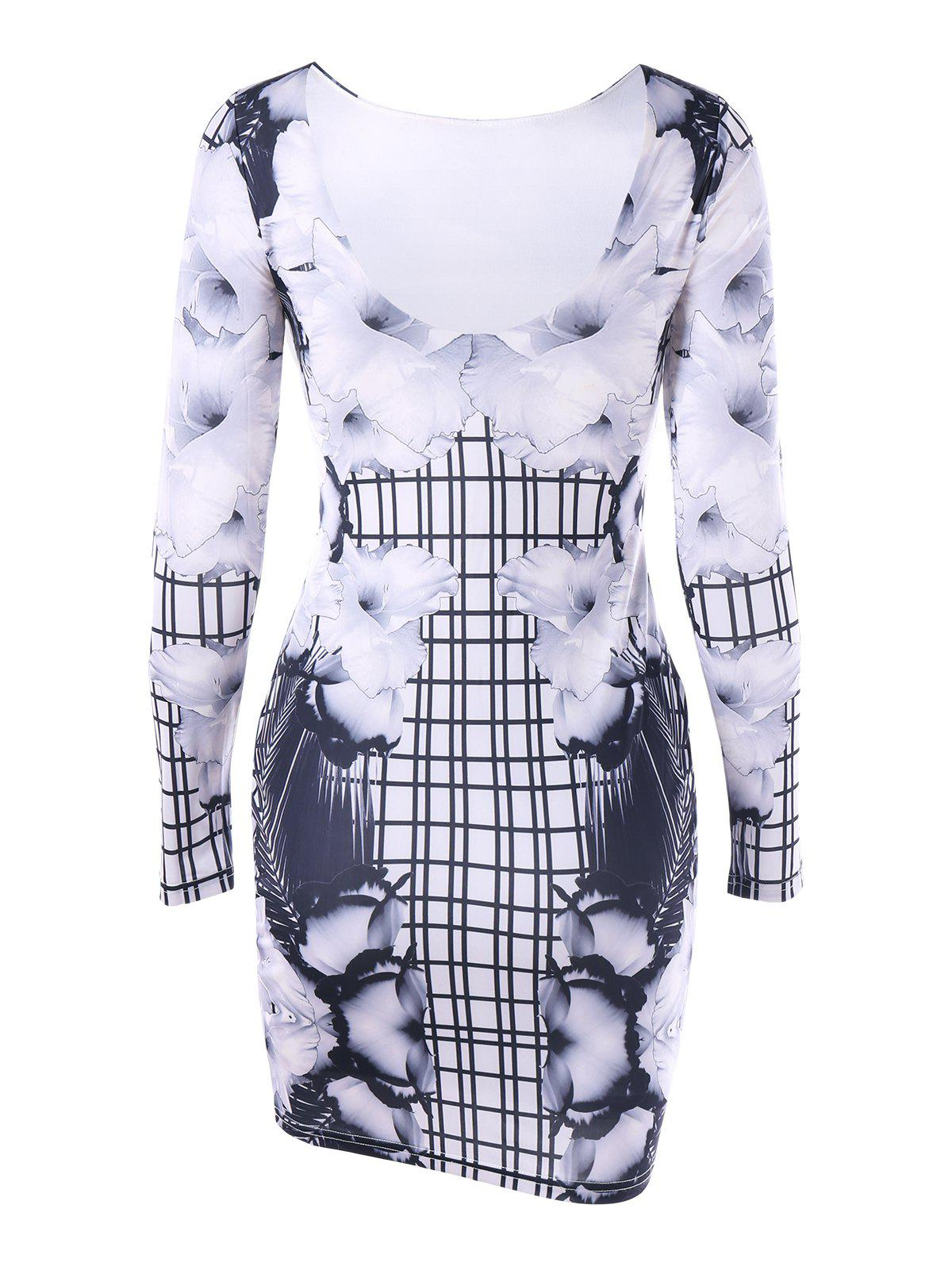 Long Sleeve Flower Gingham Bodycon Dress - COLORMIX 2XL
