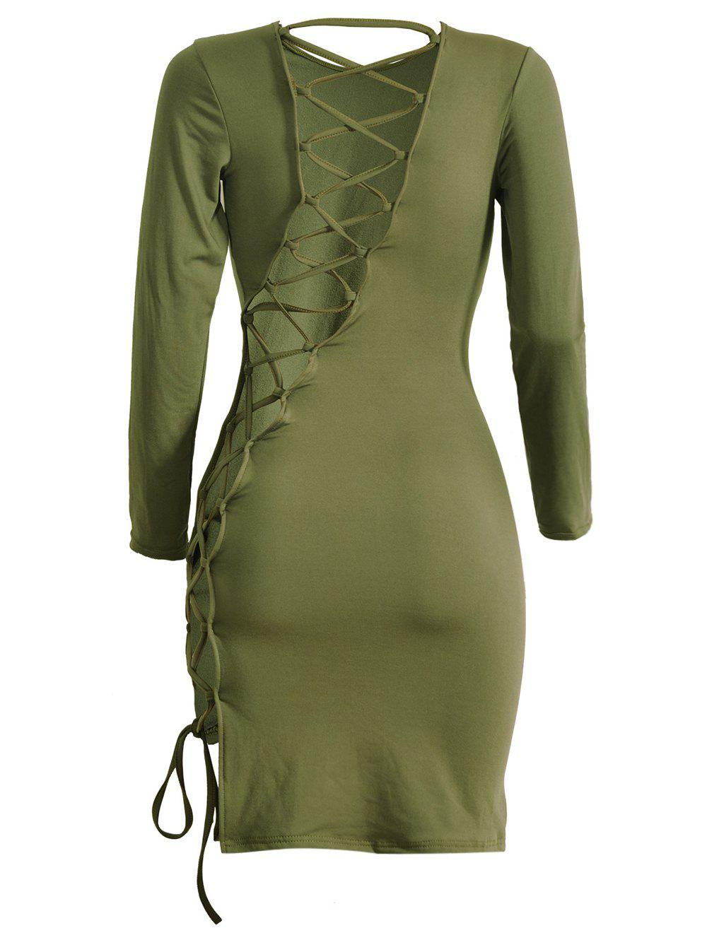 Lattice Cut Out Long Sleeve Sheath Dress - ARMY GREEN XL