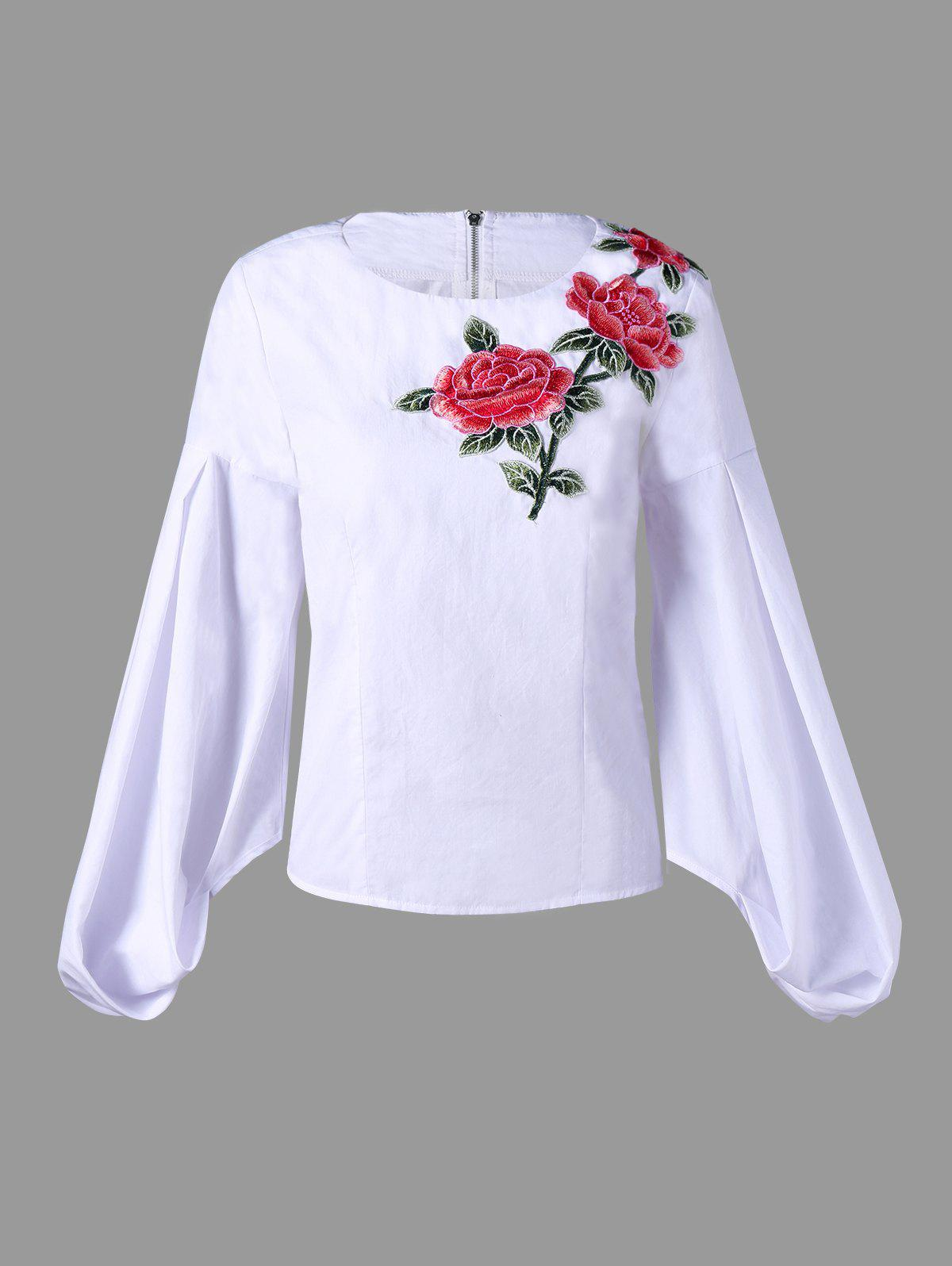 Zip Up Flower Embroidered Puff Sleeve Blouse - WHITE XL