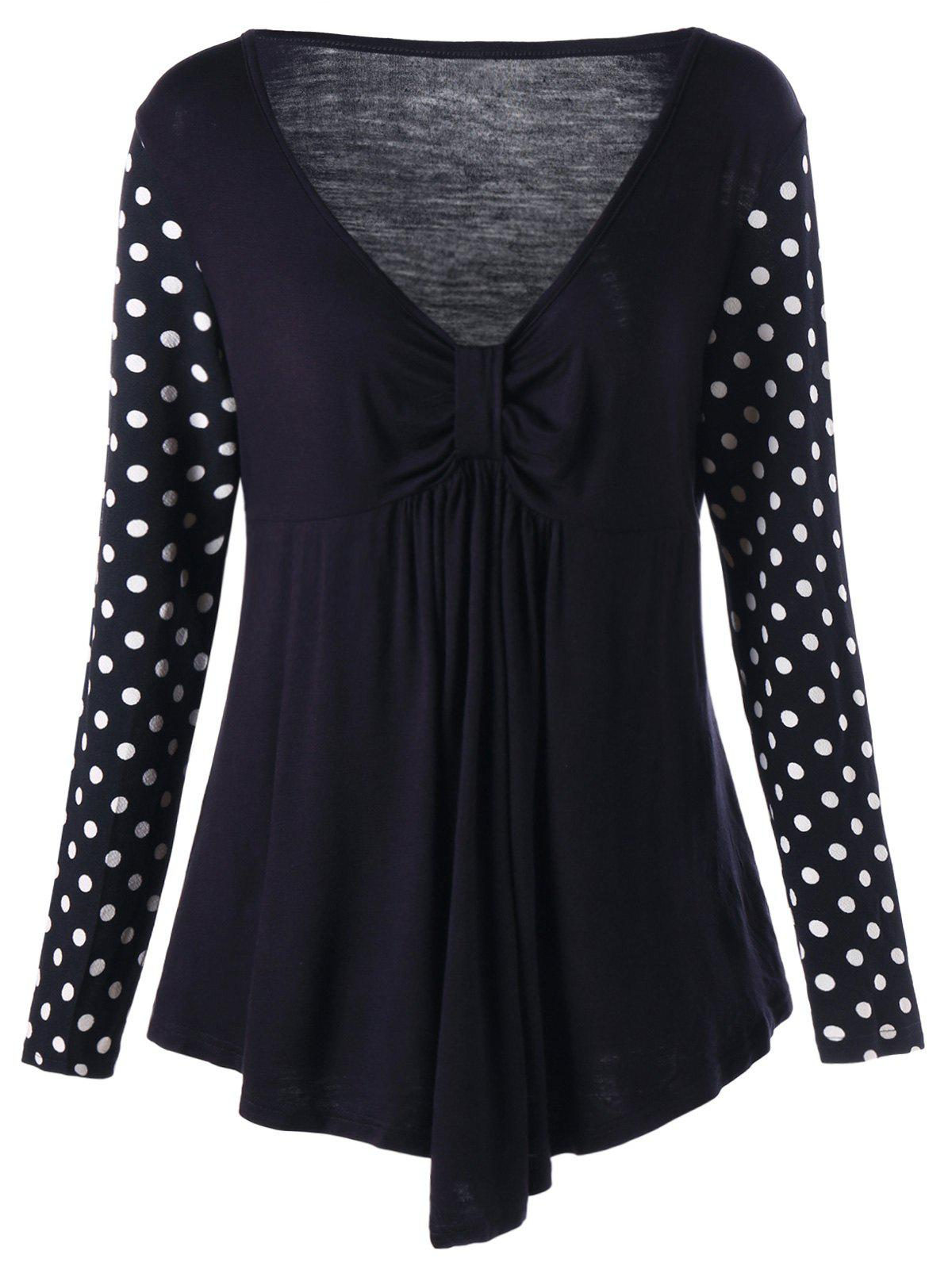 Plus Size Polka Dot Empire Waist Tunic T-shirt plus size polka dot baggy t shirt