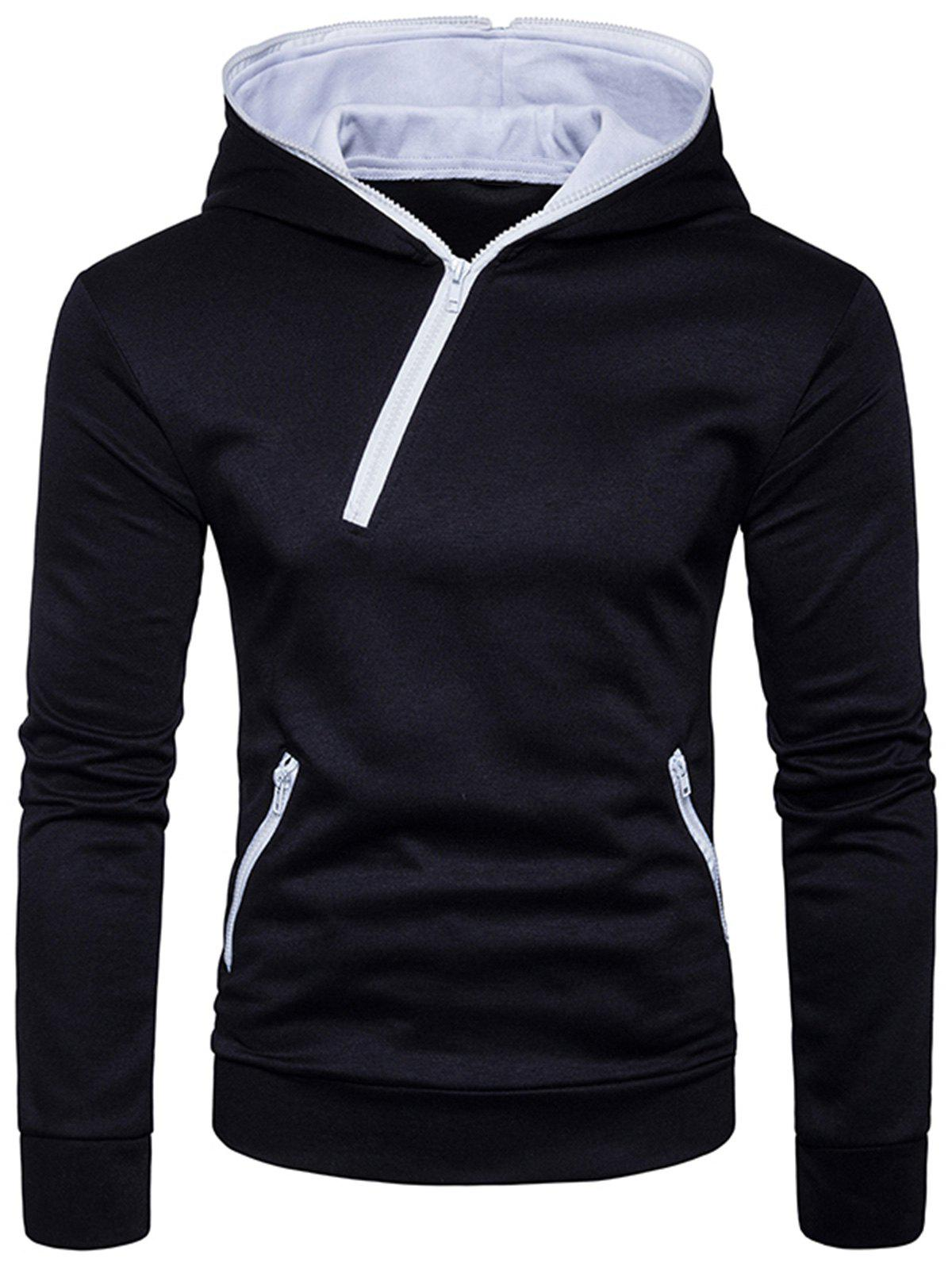 Zipper Design Hooded Sweat à capuche - Noir M