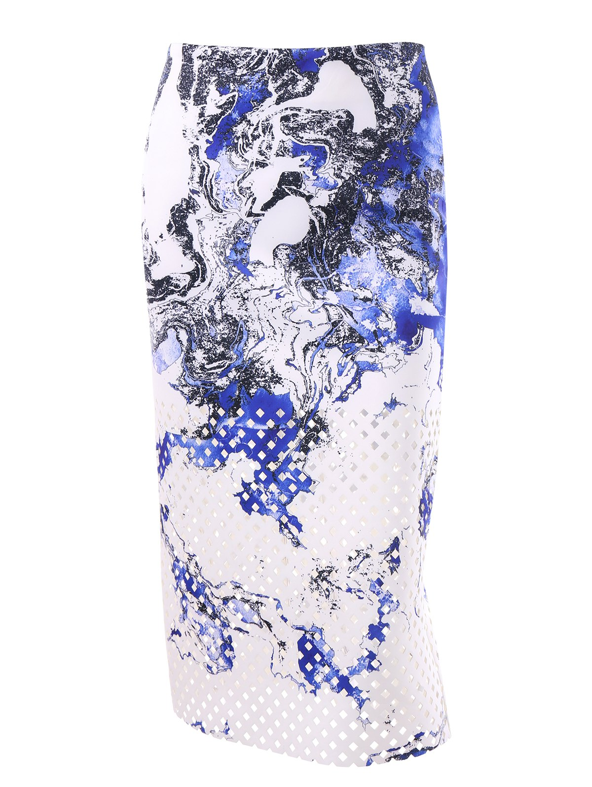 Zipper Print Midi Skirt - WHITE L