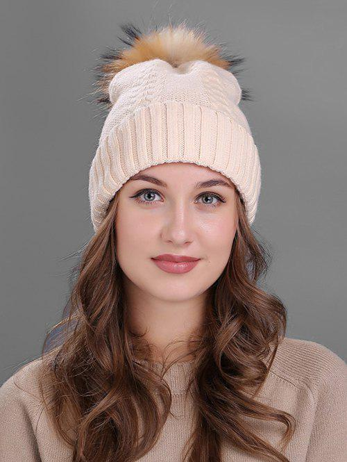 Crochet Flanging Pom Ball Knitting Hat - BEIGE