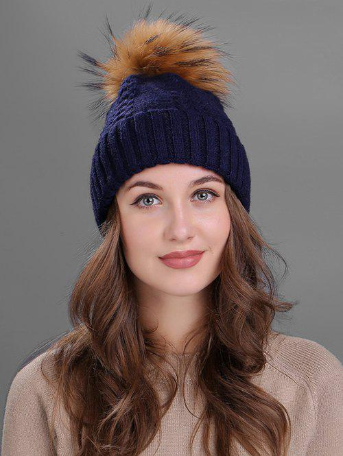 Crochet Flanging Pom Ball Knitting Hat - CADETBLUE