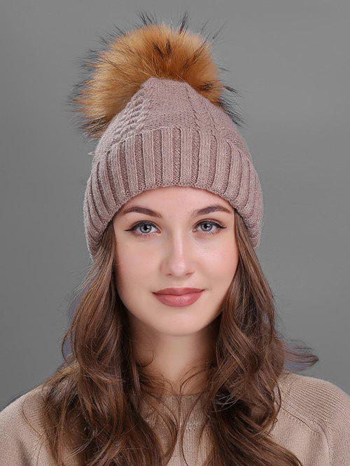 Crochet Flanging Pom Ball Knitting Hat - KHAKI