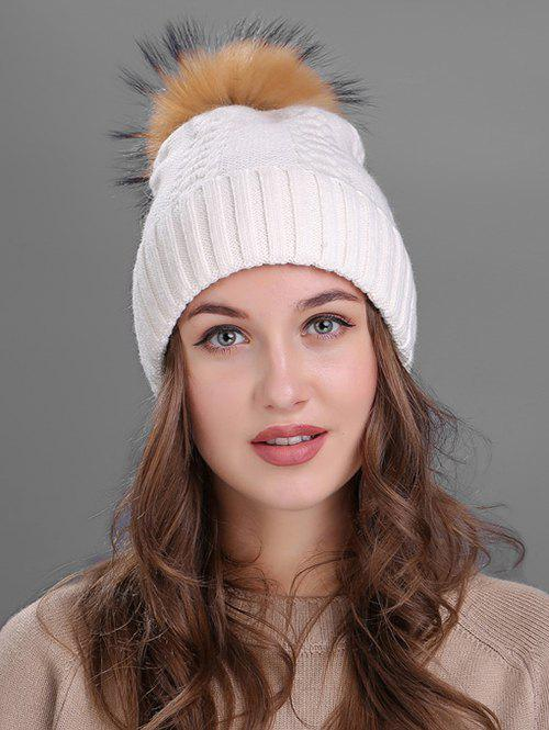 Crochet Flanging Pom Ball Knitting Hat - WHITE